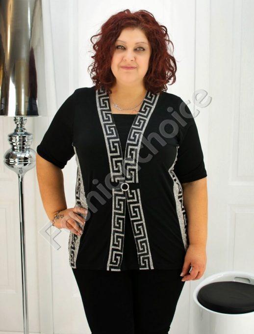 Макси блуза имитираща две части с мотиви Версаче- код 247-1078-1