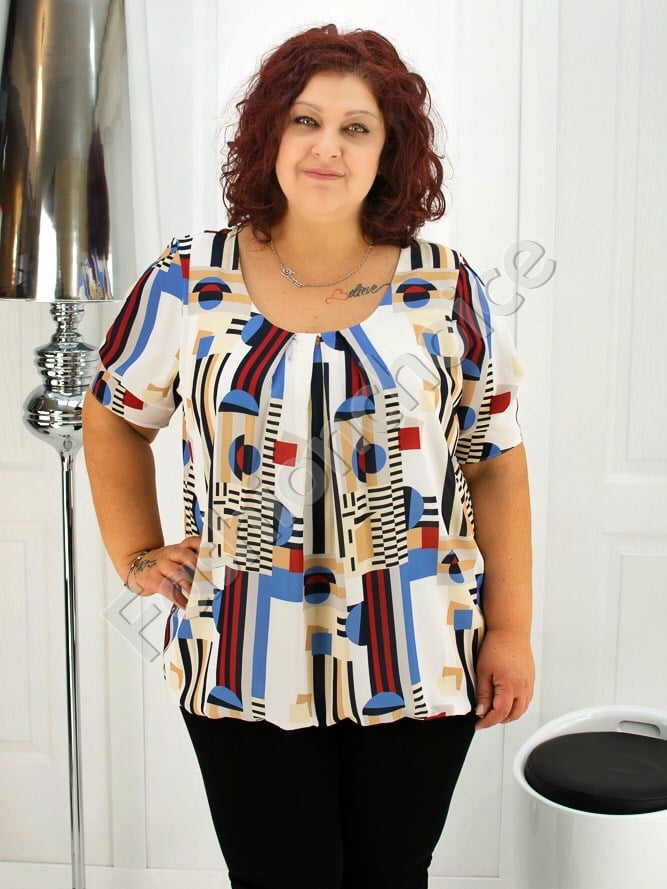 Дамска макси блуза с красиви абстрактни фигури- код 1989