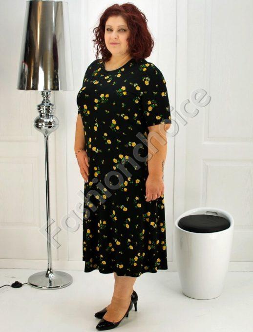 Голям размер дамска рокля с щампа на цветя- код 708-6969-4