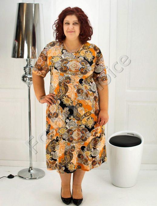 Макси рокля в интересен свеж десен- код 708-6969-2