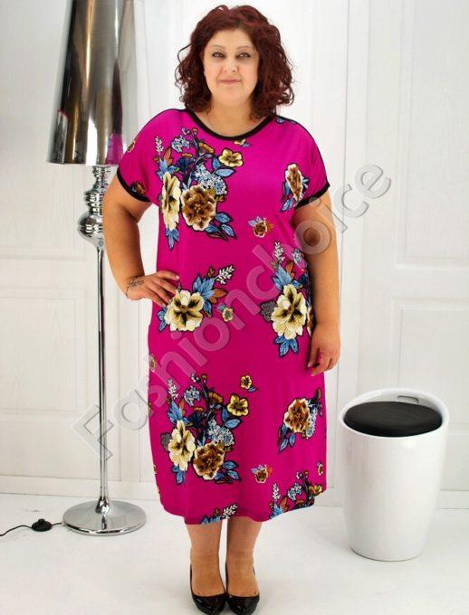 Красива дамска рокля с флорални мотиви- код 708-6937-1
