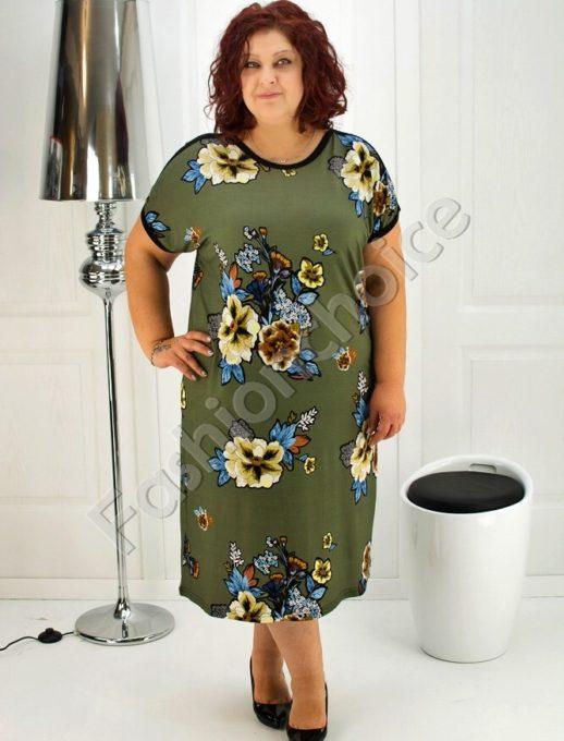 Красива дамска рокля с флорални мотиви- код 708-6937
