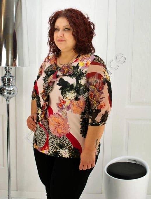 Красива макси блуза с жабо- код 6108
