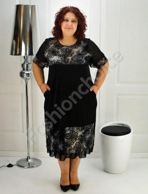 Макси рокля с нежен тюл от цветя- код 249-1082