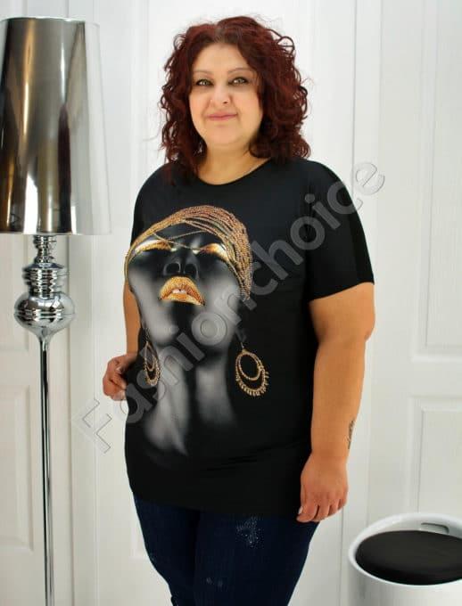 Дамска макси блузка с красива щампа и камъчета-код 749-1