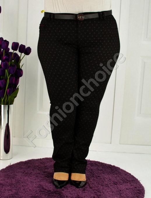 Елегантен макси панталон в красив десен с коланче-код 752-1295