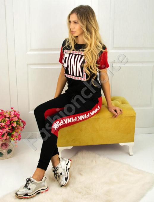 Дамски спортен екип PINK с късо ръкавче- код 750-901-2