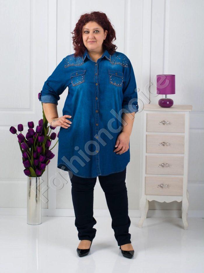 Макси дънкова туника-риза с камъни и перли/52-60/-код 705-2