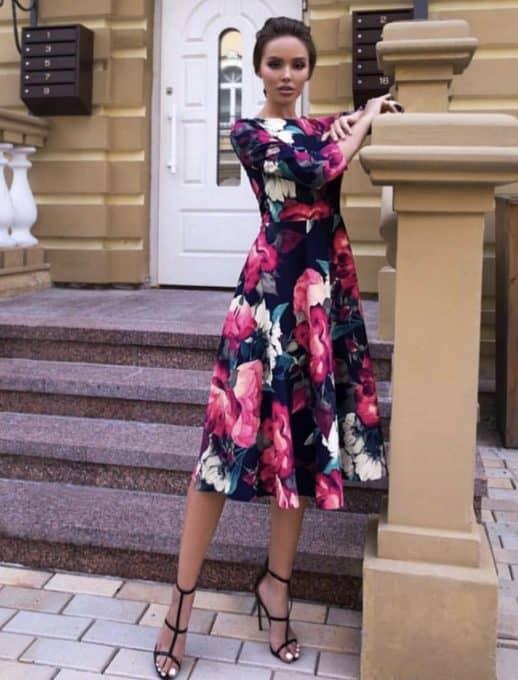 Разкроена рокля на цветя - код 1223