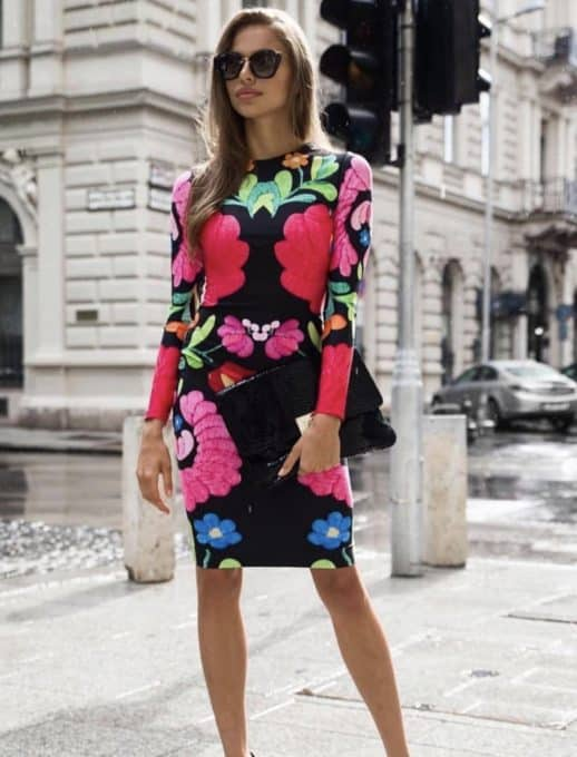 Права рокля на цветя - код 1223-1