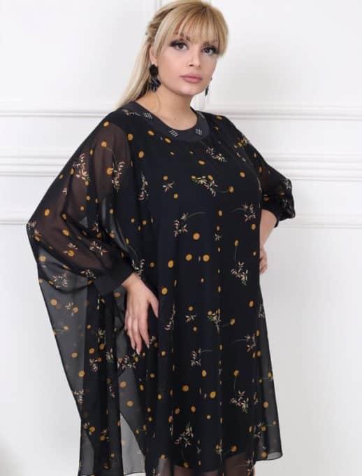 Стилна макси рокля тип пончо в изключително нежен десен