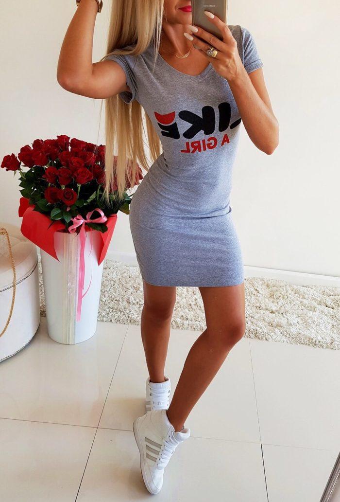 Къса ластична рокличка с надпис- код 105