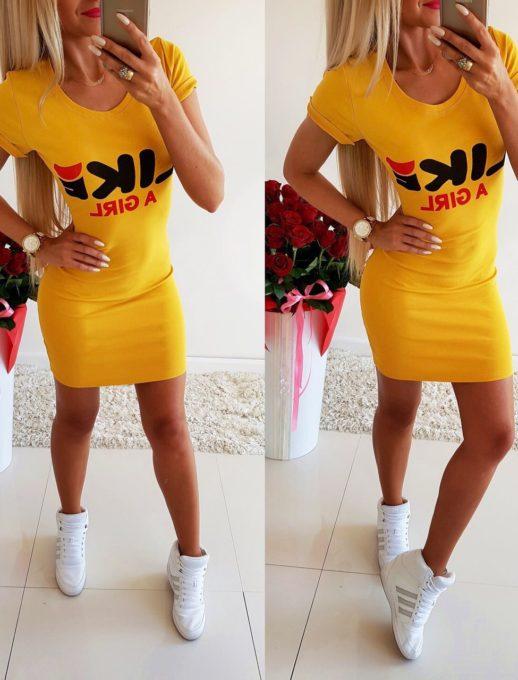Къса ластична рокличка с надпис- код 105-2