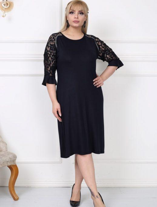 Елегантна макси рокля с ръкави от нежна дантела/3XL-5XL/