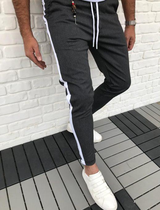 Мъжко спортно долнище с бял кант в черен меланж /стеснена кройка/