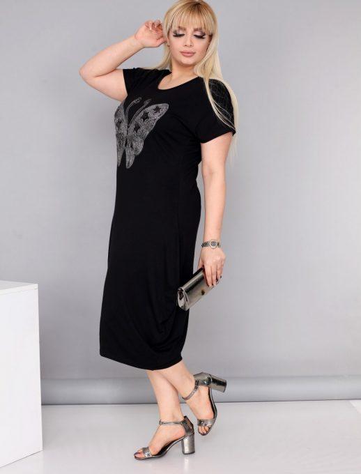 Нов модел макси рокля с красива сребърна пеперуда