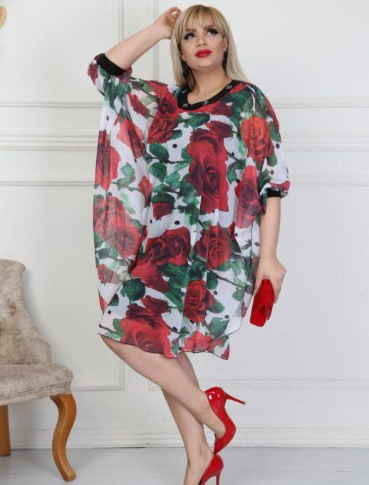 Стилна макси рокля тип пончо в невероятно красив десен