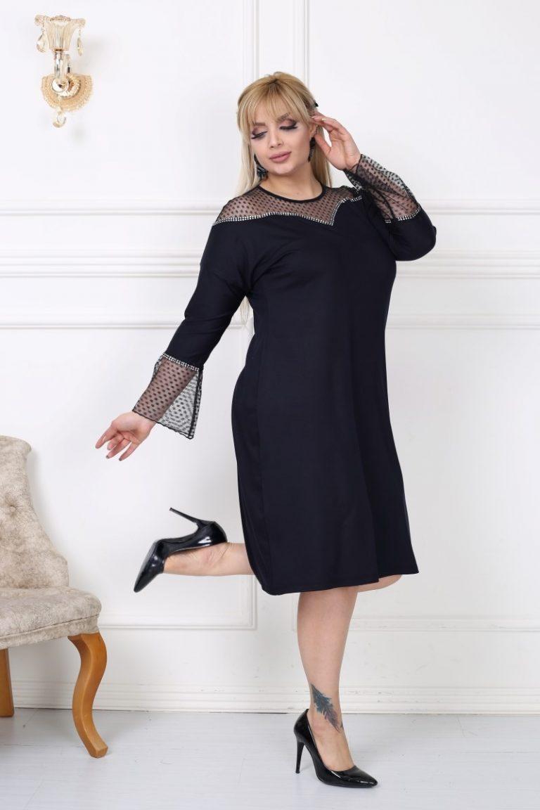 Елегантна макси рокля в комбинация от нежен тюл на точки/3XL-5XL/