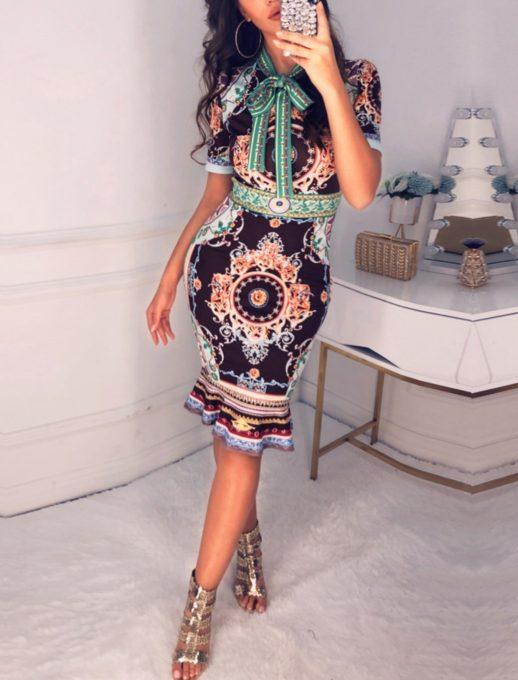 Цветна рокля с красива панделка - Код 519