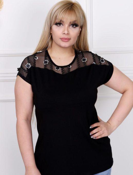 Дамска макси блуза с дантела и цветенца-код 711-7032