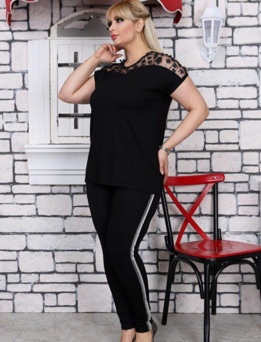Дамска макси блуза с дантела и нежни цветенца-код 711-7011