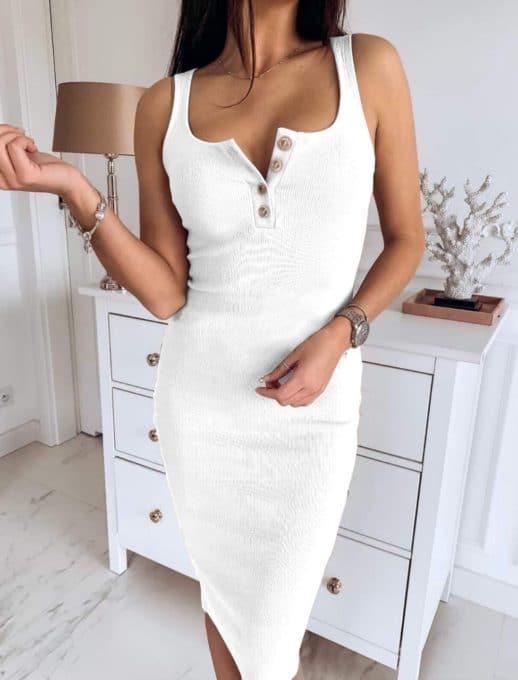 Миди рокля по тялото - бял цвят Код 793-7