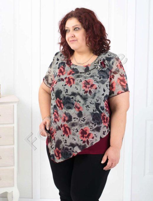 Обаятелна макси блуза с шифон на нежни цветя-код 004-135