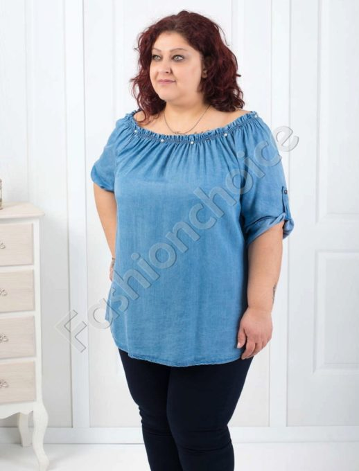 Дънкова блуза с кокетни перли и лодка деколте-код 520-1463
