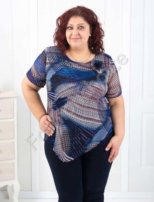 Обаятелна макси блуза с шифон и красива декорация-код 004-135-1