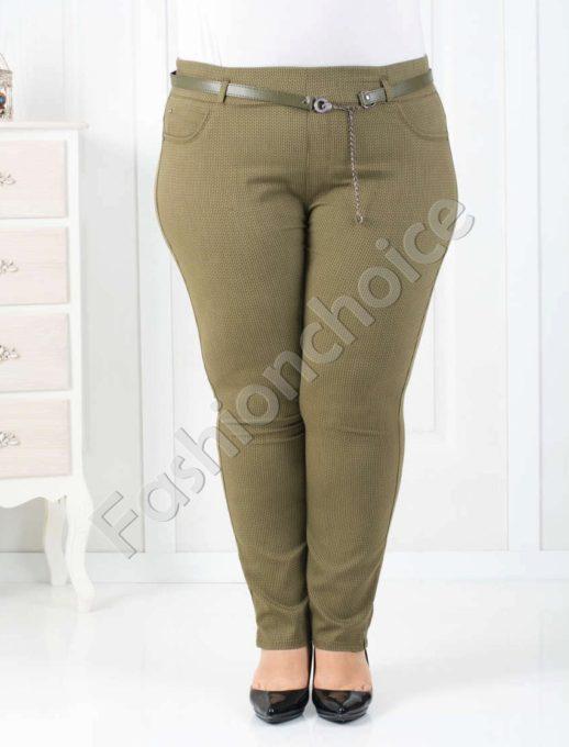 Дамски макси клин-панталон в цвят каки/58-64/-код 752-1014-2