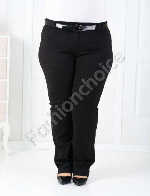 Дамски макси панталон в черно на релефни цветя-код 752-3