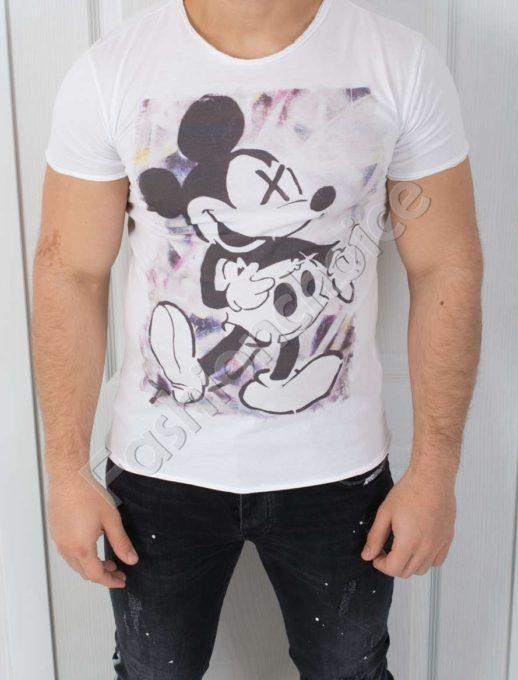 Мъжка тениска в бяло с щампа МИКИ-код 541-3