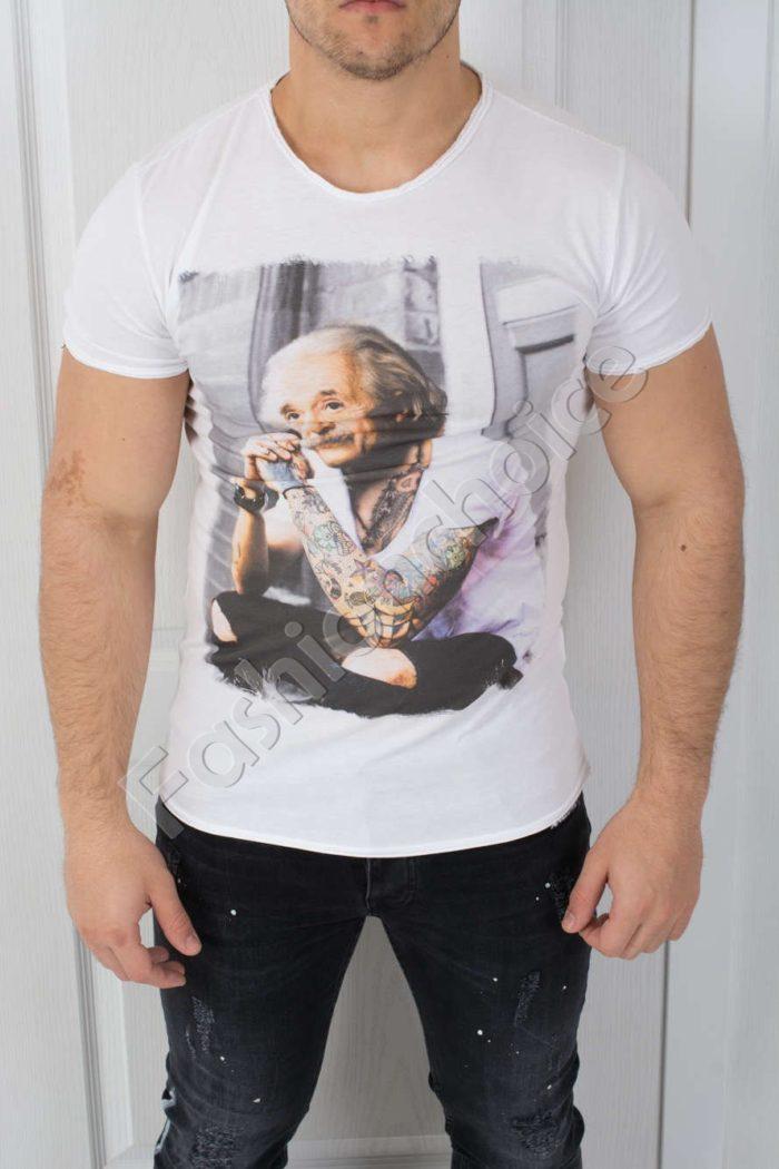 Свежа мъжка тениска с щампа Айнщайн-код 541-2