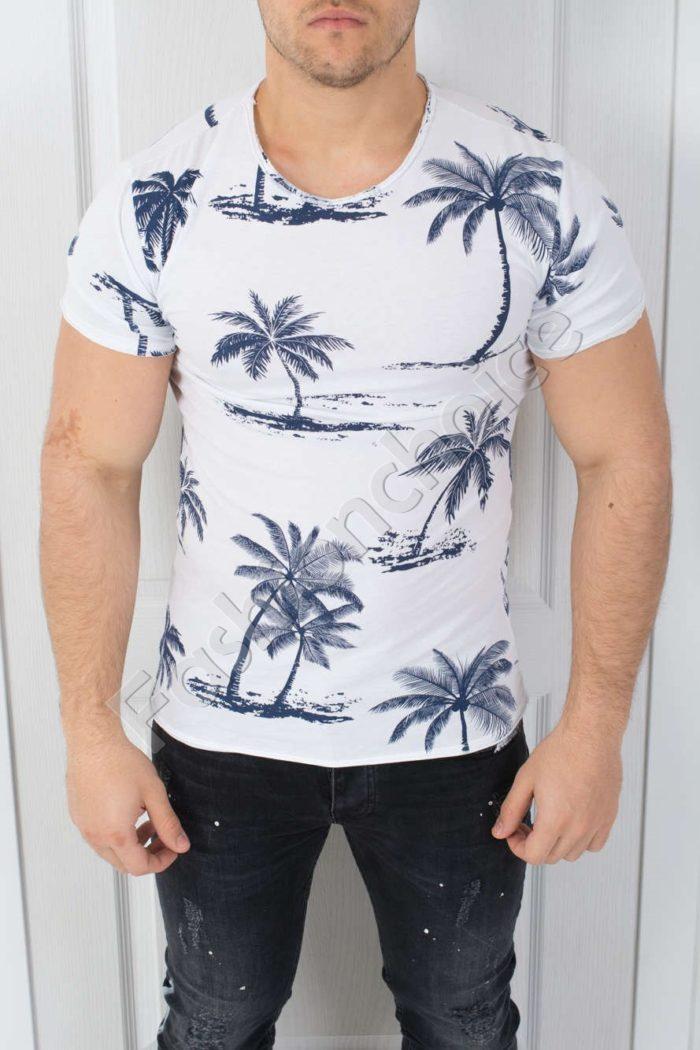 Мъжка тениска в бяло със свежа щампа на палми-код 541-4
