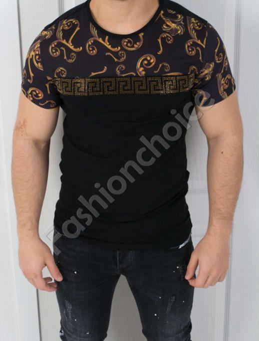 Мъжка тениска в черно с мотиви тип ВЕРСАЧЕ-код 542-039