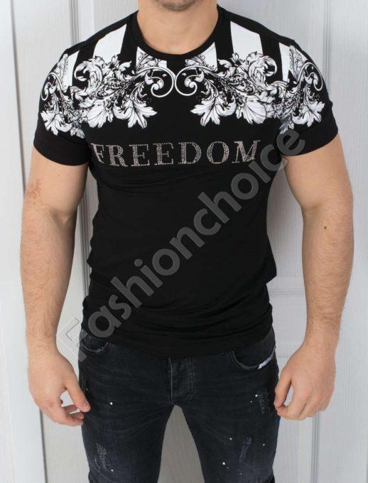 Мъжка тениска FREEDOM в черно-код 542-3801-1