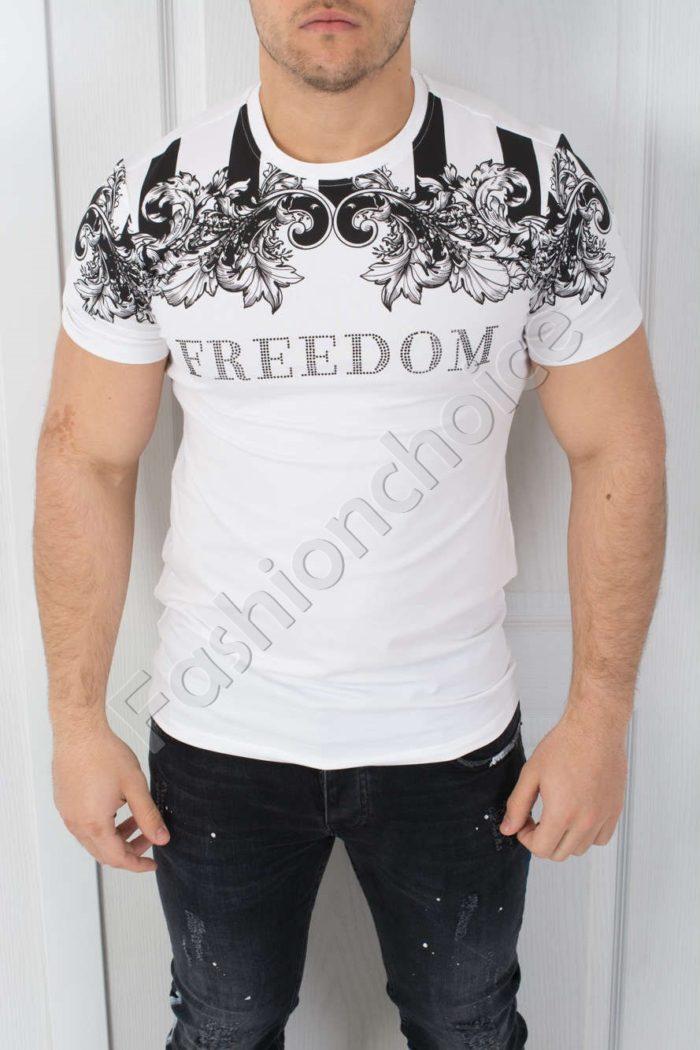 Мъжка тениска FREEDOM в бяло-код 542-3801