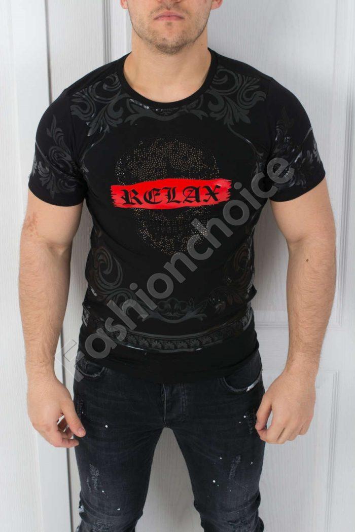 Мъжка тениска в черно- код 542-3608