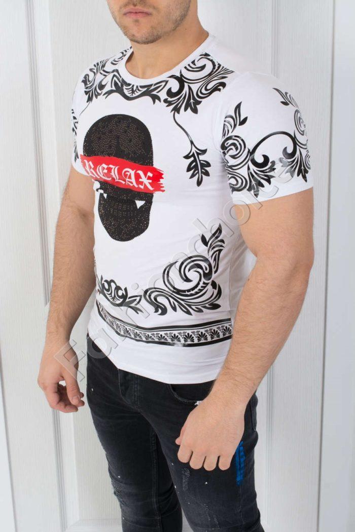 Мъжка тениска в бяло-код 542-3608-1