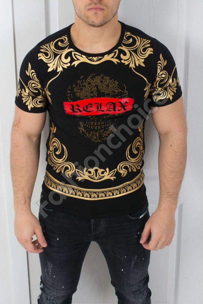 Мъжка тениска в черно със златно-код 542-3608-2