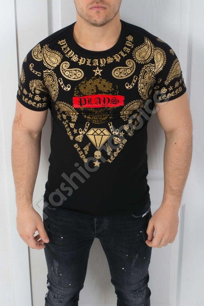 Мъжка тениска интересна златиста щампа и камъчета- код 542-369-2
