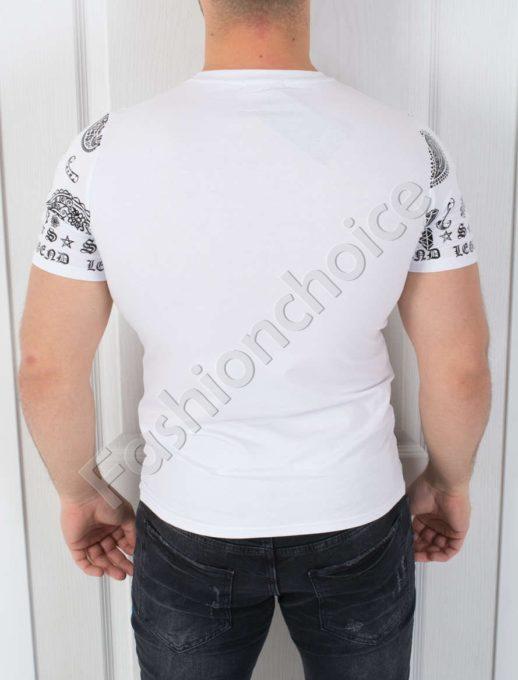Мъжка тениска интересна щампа и камъчета в бяло- код 542-369-1