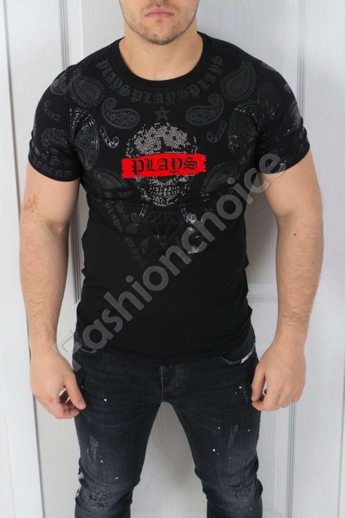 Мъжка тениска интересна щампа и камъчетав черно- код 542-369