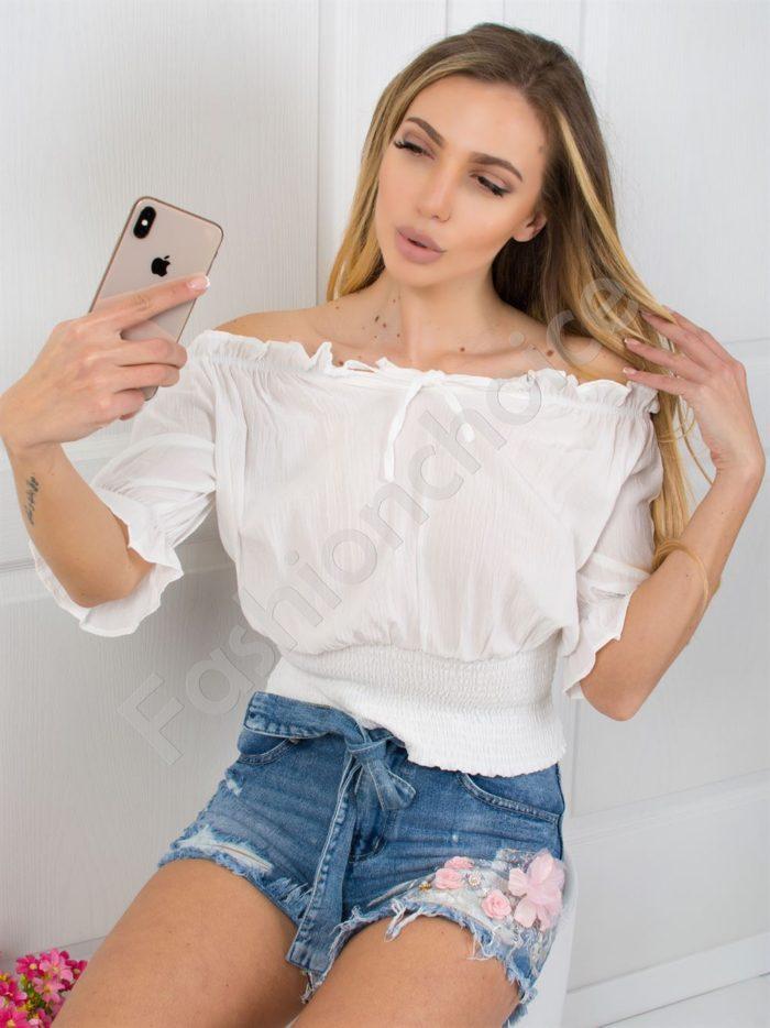 Кокетна дамска блуза с голи рамене в три цвята Код 781