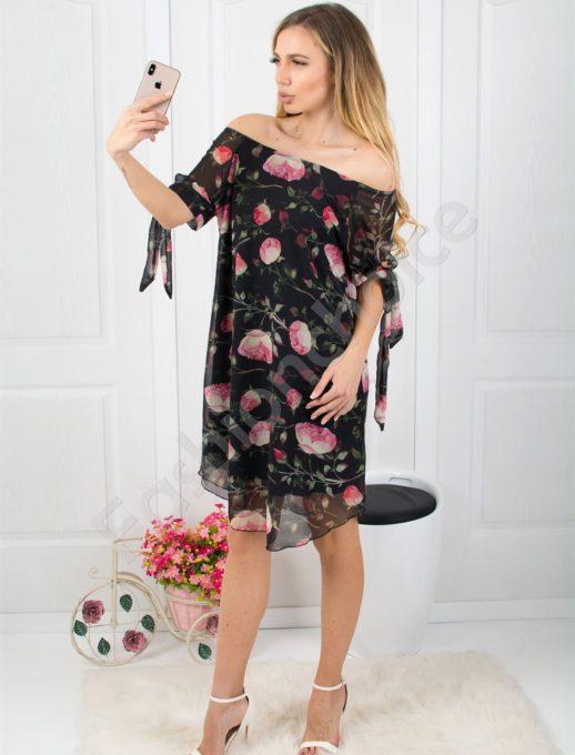 Черна рокля от шифон на цветя Код 0587-1