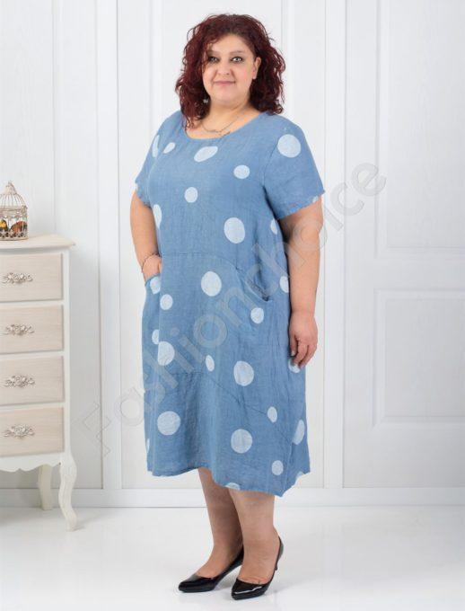 Комфортна ленена рокля в три красиви цвята-код 524-8867