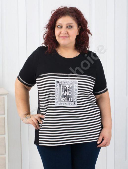 Приятна макси блузка на райе с нежна апликация-код 258