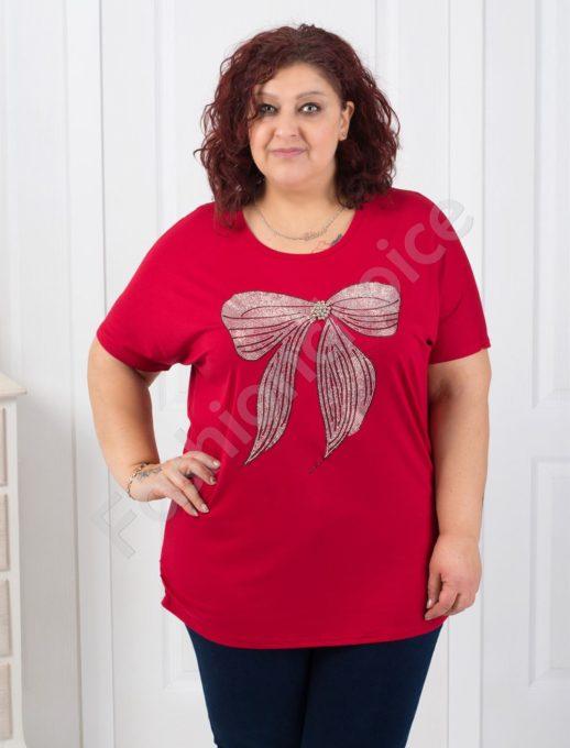 Красива макси блуза с блестяща панделка/пет цвята/-код 303-9358