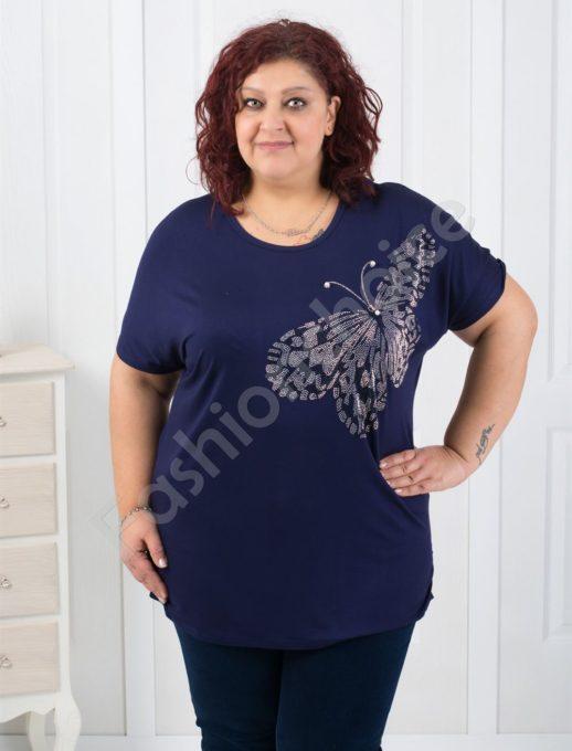 Елегантна макси блуза с красива пеперуда-код 303-9305