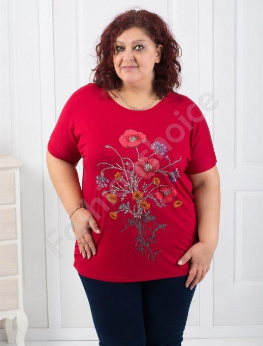Макси блуза с красива декорация от камъчета/пет цвята/-код 303-9396